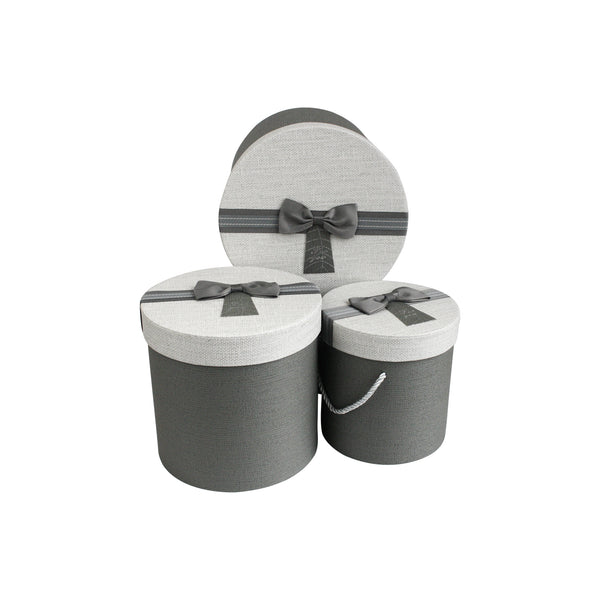 Grey White with Bow Gift Box - Set Of 3