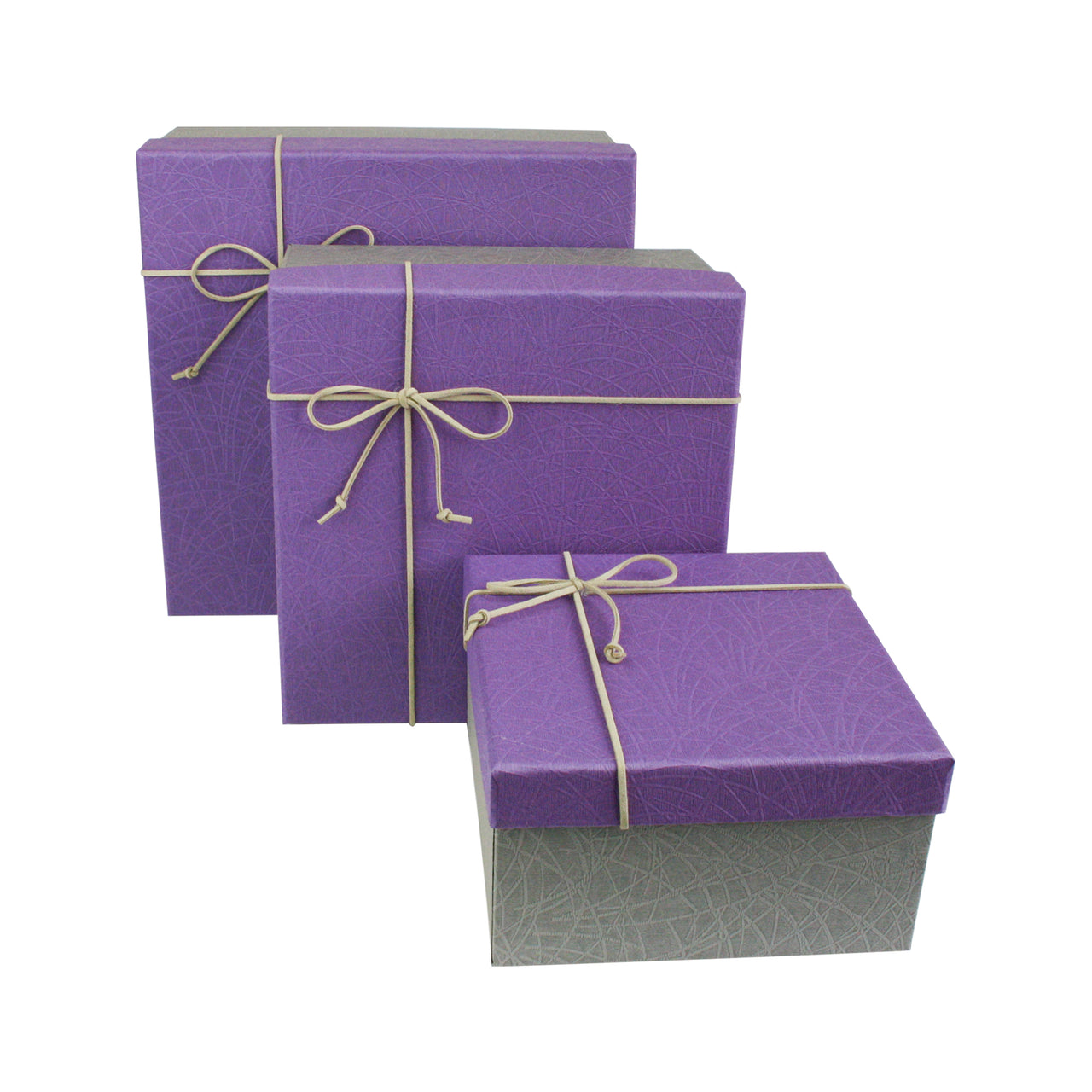 Grey Purple Gift Box - Set Of 3