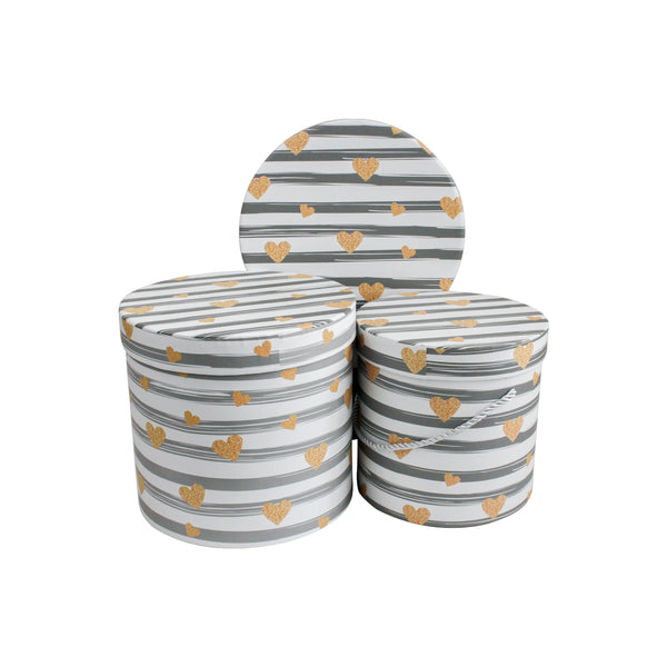 White Grey Stripes Gift Box - Set Of 3