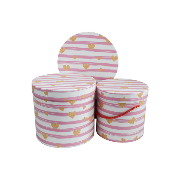 White Pink Stripes Gift box - Set Of 3