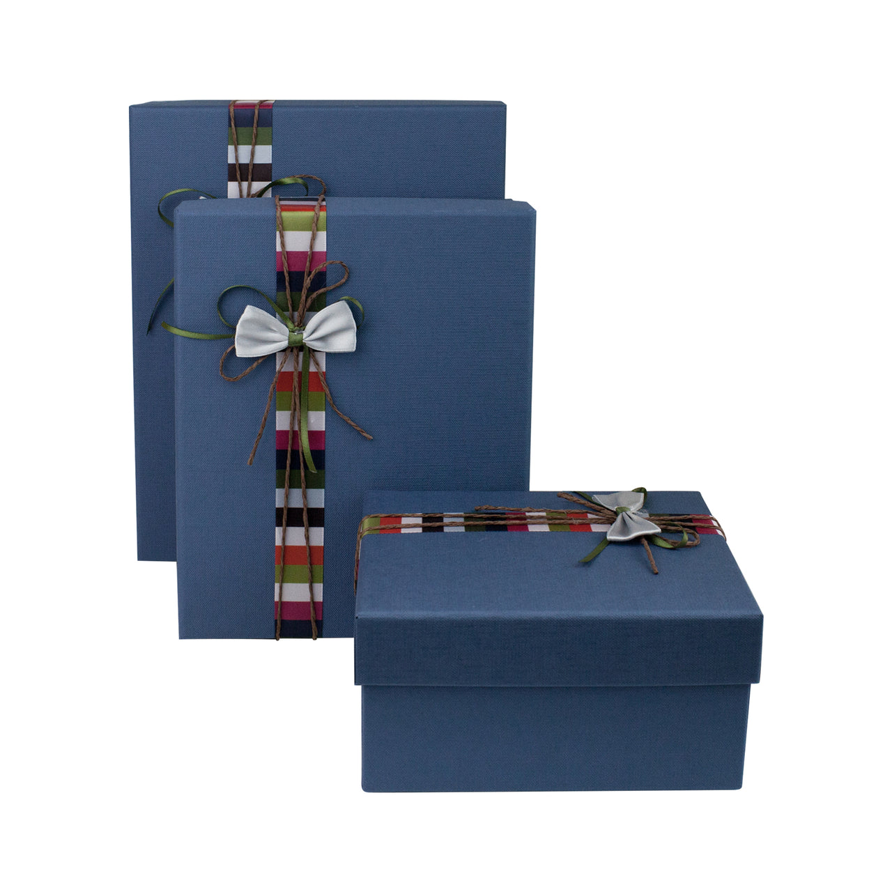 Blue Striped Bow Gift Box - Set of 3 - EMARTBUY