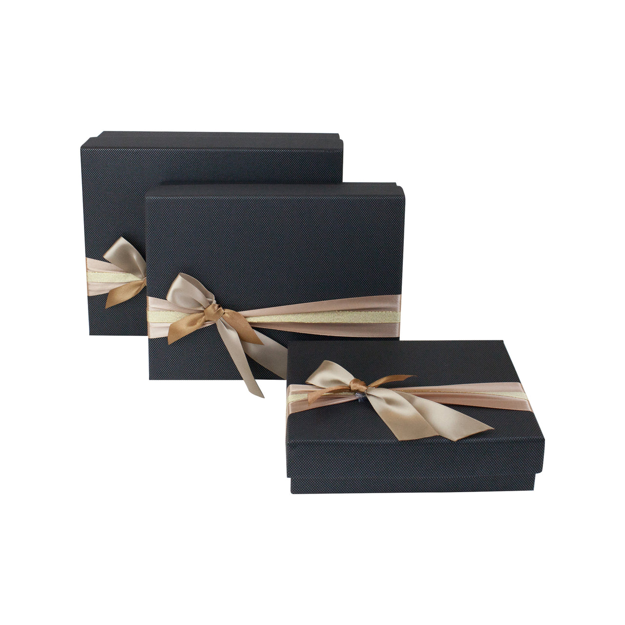 Black Gold Bow Gift Box - Set Of 3 - EMARTBUY