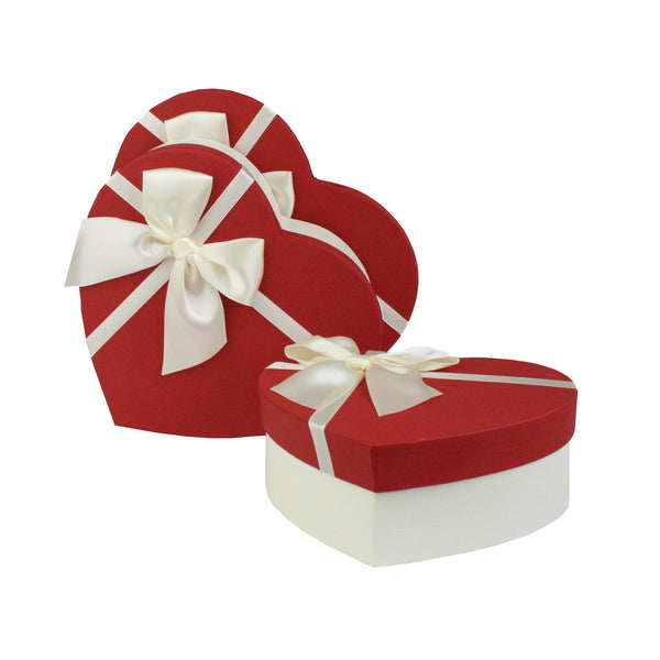 White Red Textured with Bow Gift Box - Set Of 3