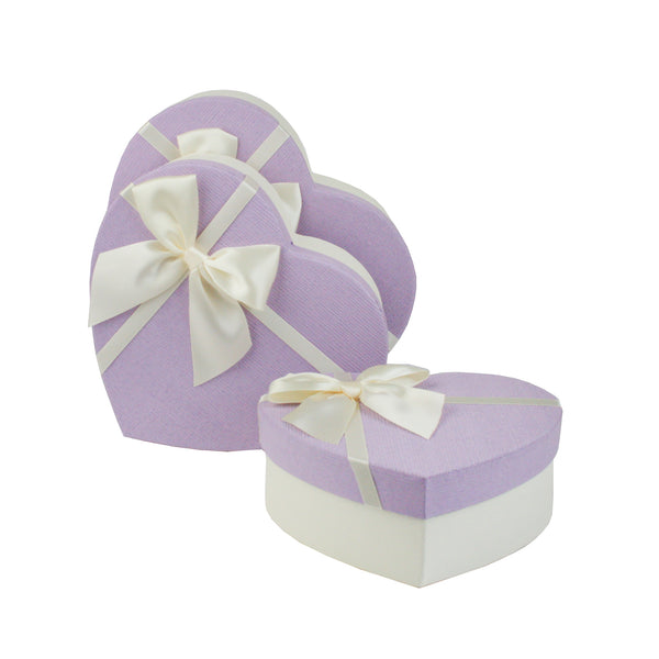 Lilac White Bow Textured Gift Box - Set Of 3