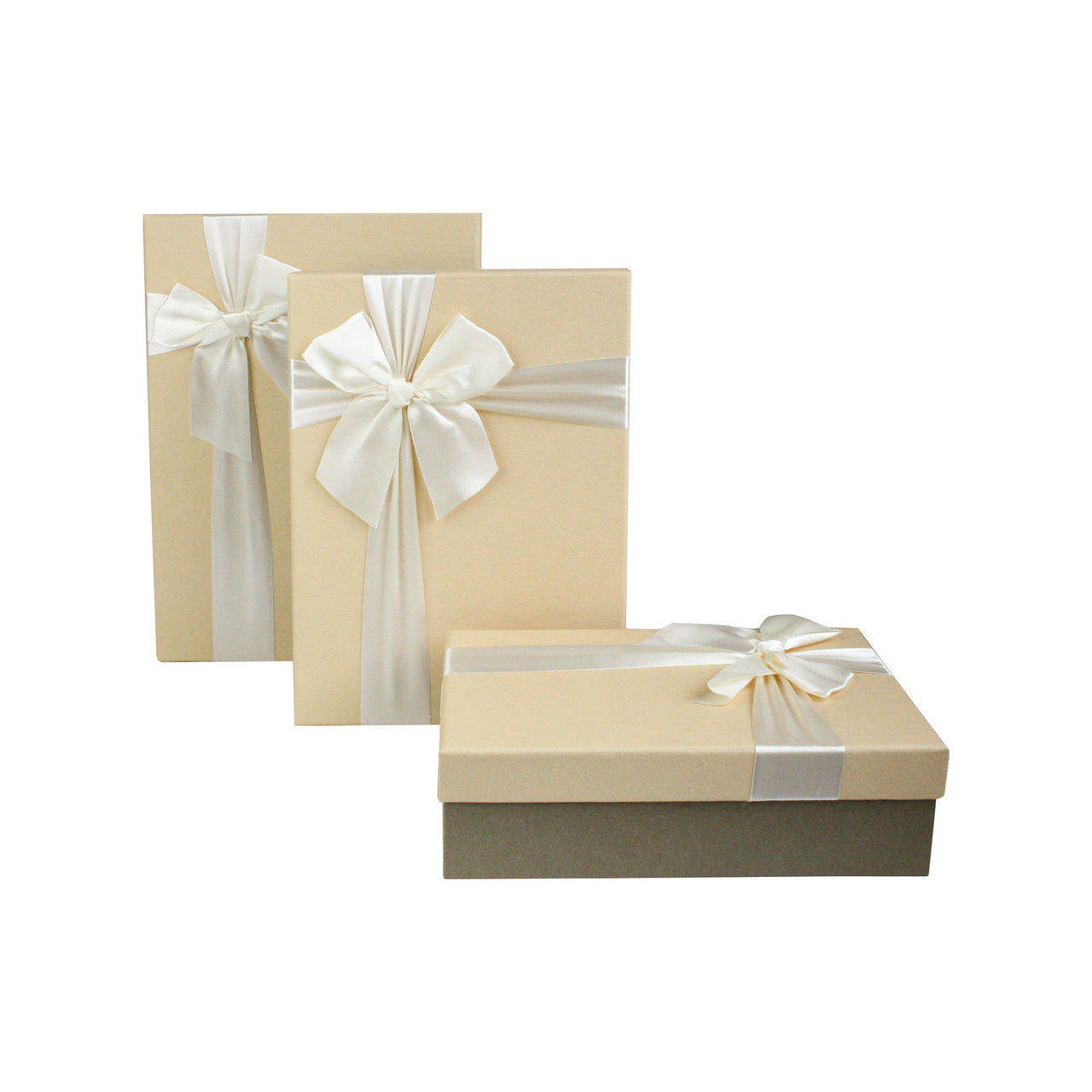 Khaki Cream with Bow Gift Box - Set Of 3
