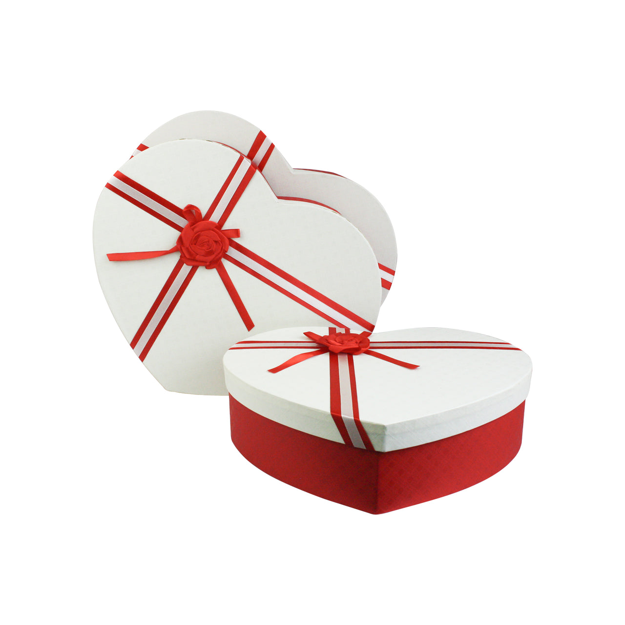 Red White with Bow Gift Box - Set Of 3