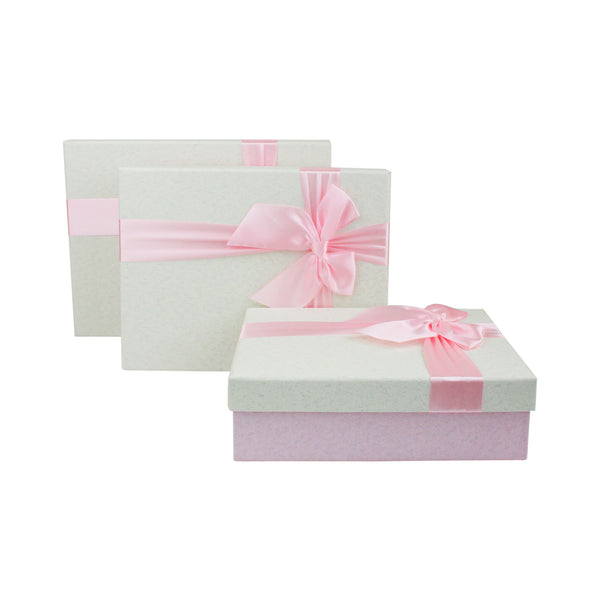 Rectangle Baby Pink / Cream Gift Box- Set of 3
