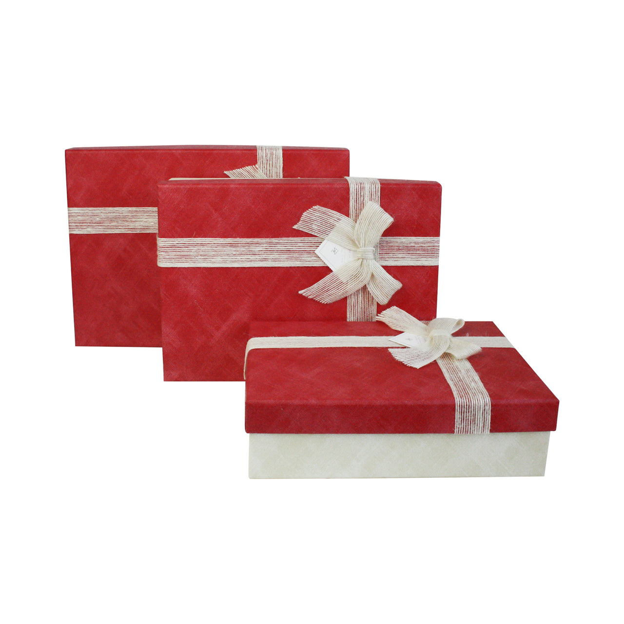 Cream Red Gift Box - Set Of 3