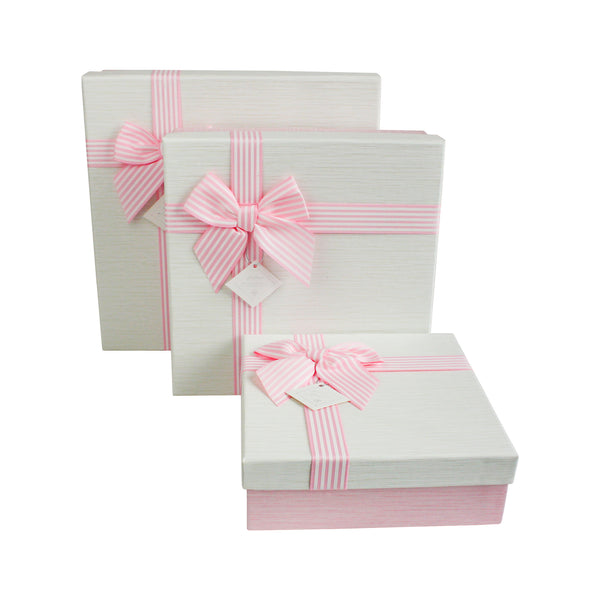 Square Baby Pink / Cream Gift Box -Set Of 3