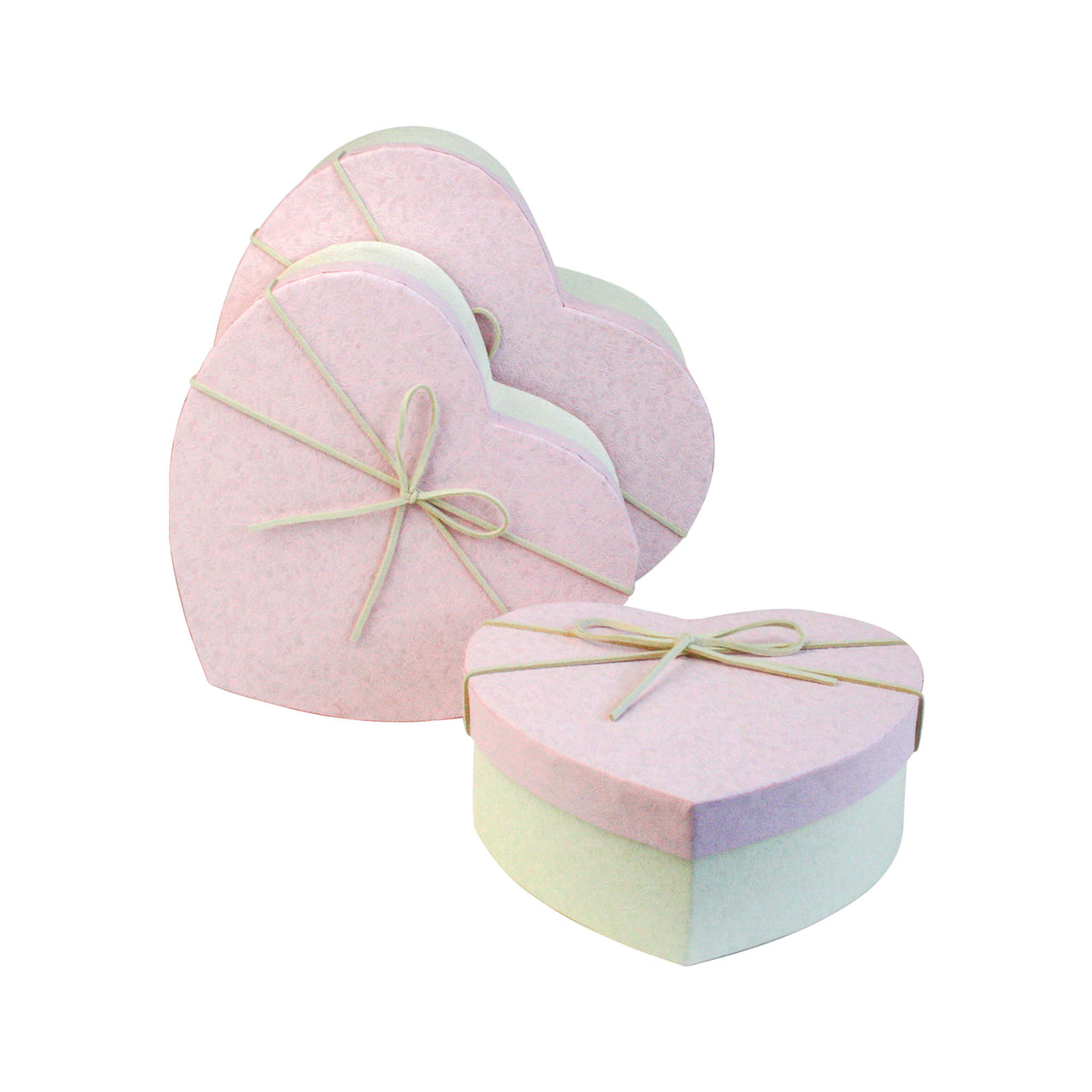 Hearts Textured Cream / Baby Pink Gift Box -Set of 3