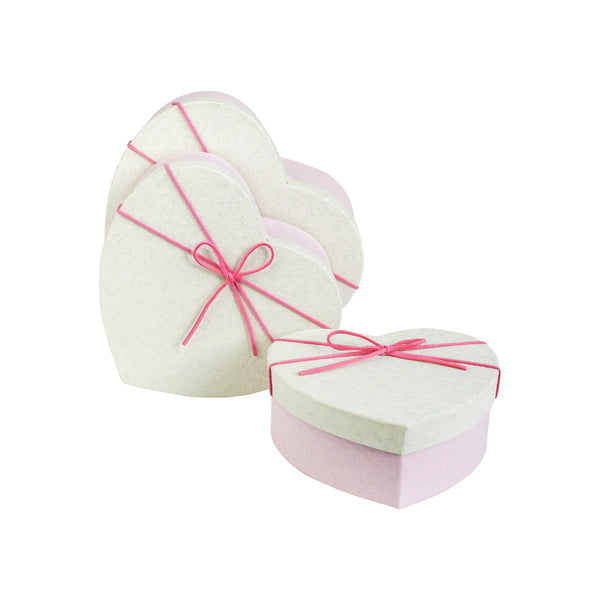 Pink Cream Textured Gift Box - Set Of 3