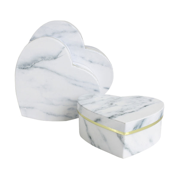 White Marble Print Gift Box - Set of 3