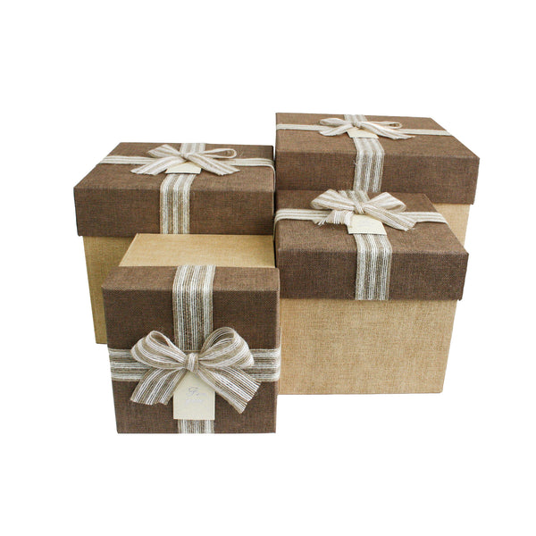 Luxury Light Brown & Dark Brown Textured Square Gift Box - Set Of 4