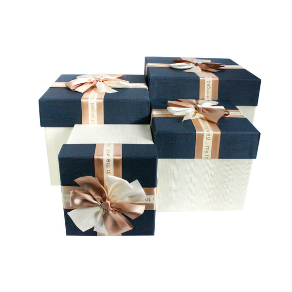 Cream Blue with Bow Gift Box - Set Of 4