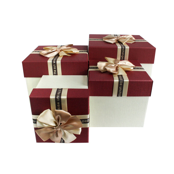 Luxury Cream & Burgandy Square Gift Box - Set Of 4