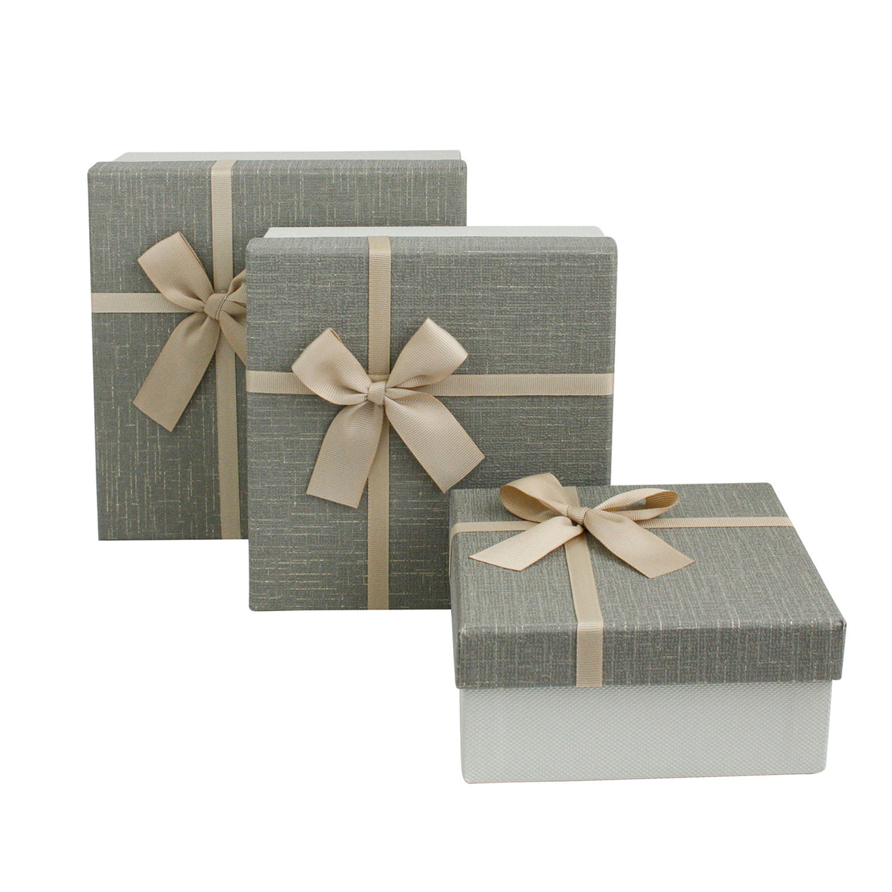 Light Khaki / Khaki Square Gift Box - Set Of 3