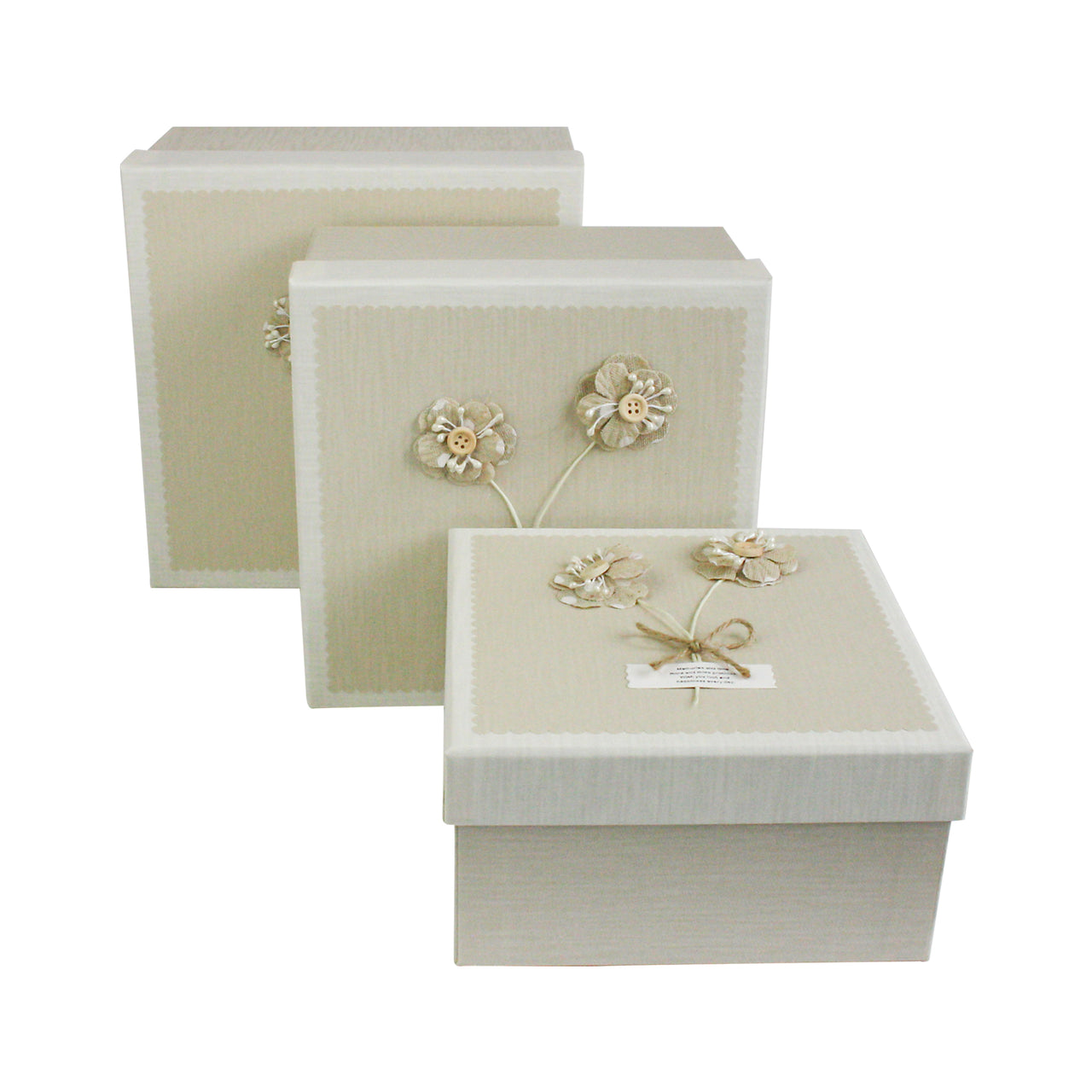 Beige Cream Bouquet Gift Box - Set Of 3 - EMARTBUY