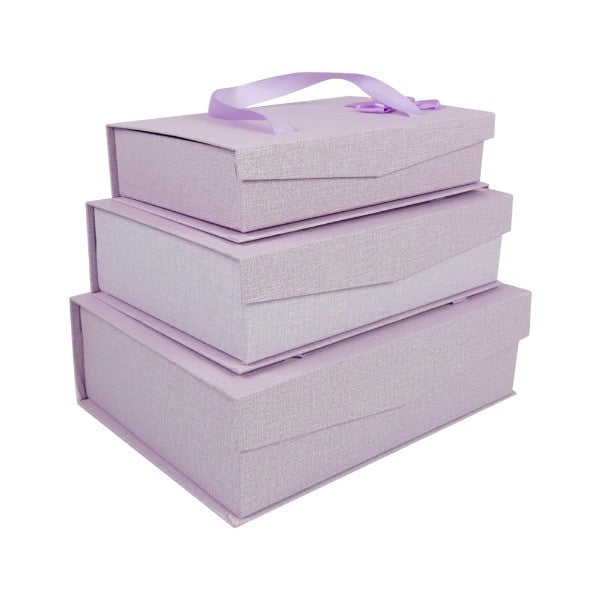 Lilac Gift Box with Magnetic Flip - Set of 3