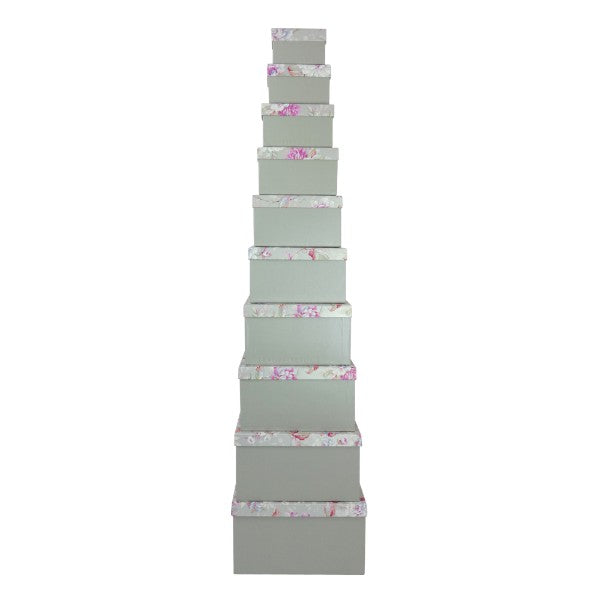 Grey/Silver with Floral Lid Rectangular Gift Box - Set of 10