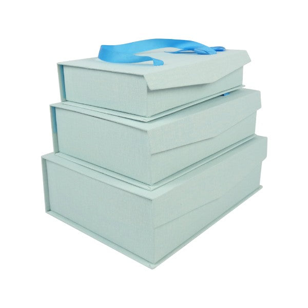 Light Blue Gift Box with Magnetic Flip - Set of 3