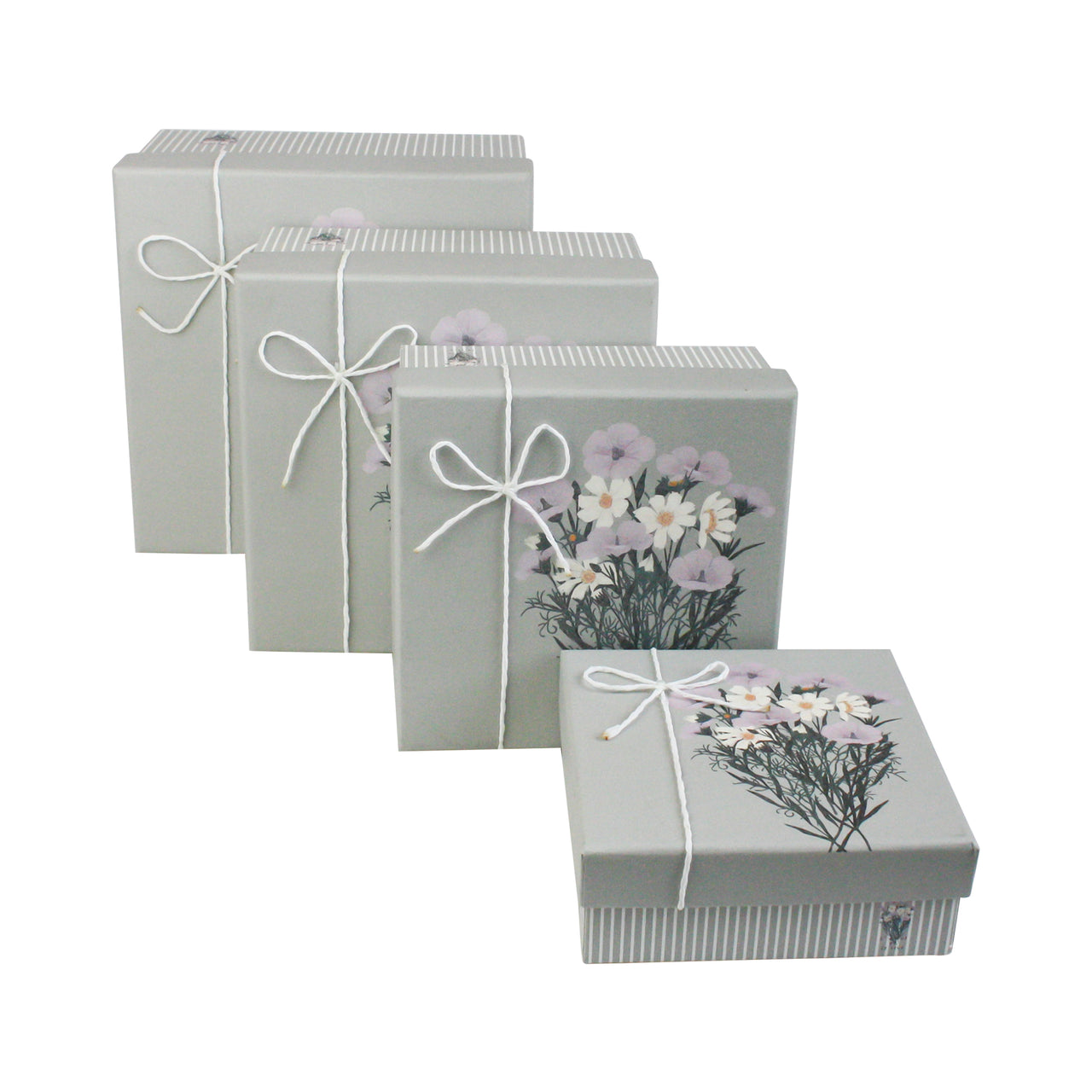 Grey Bouquet Gift Box - Set Of 4