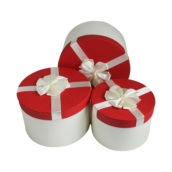 White Red with Bow Gift Box - Set Of 3