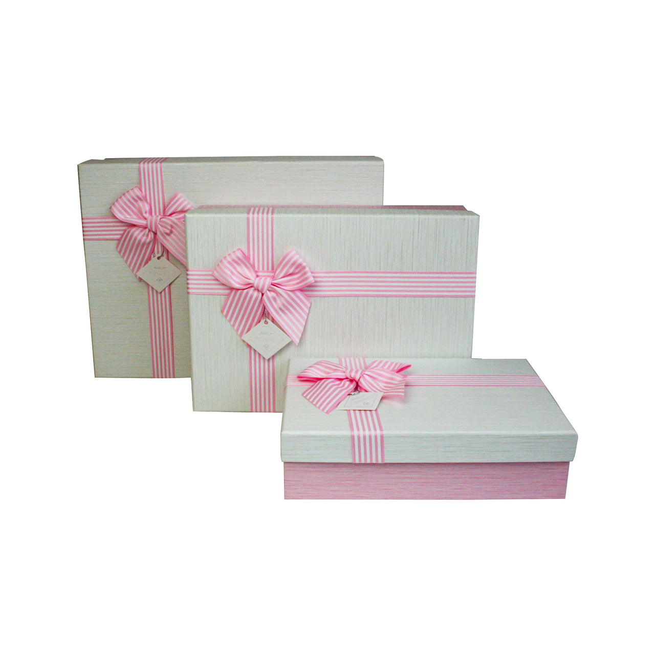 Pink White Striped Bow Gift Box - Set of 3
