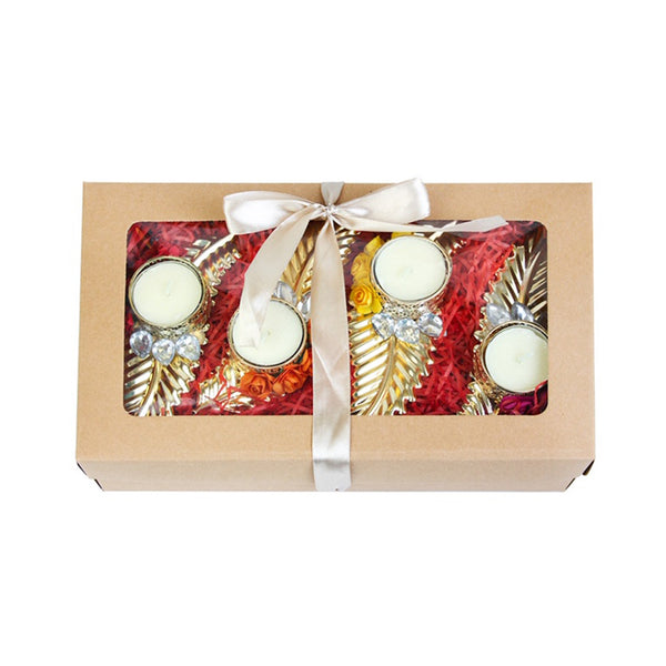 Set of 4 Leaf Tea Light Candle Holder Gift Box