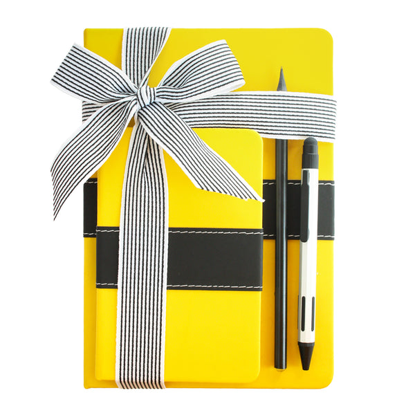 PU Leather Notebook Gift Set - Yellow