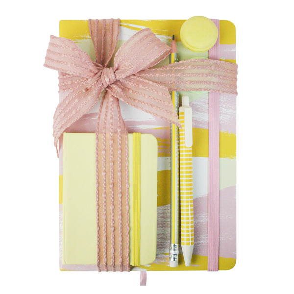 A5 & A7 Pastel Painted Notebook Gift Set - Yellow - EMARTBUY