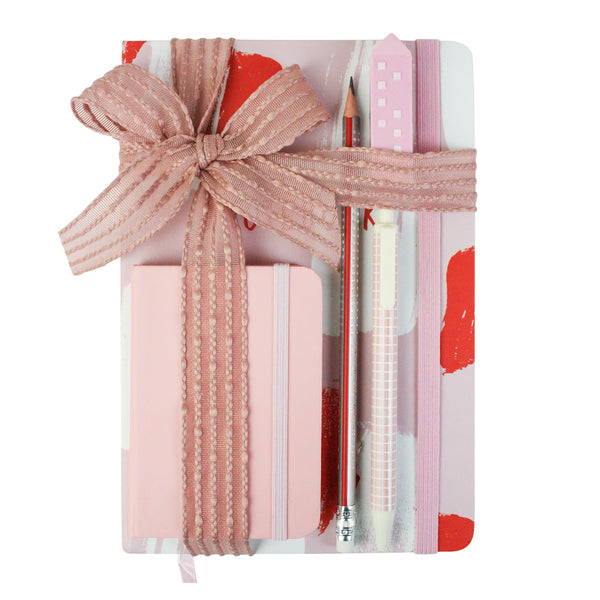 A5 & A7 Pastel Painted Notebook Gift Set - Pink - EMARTBUY