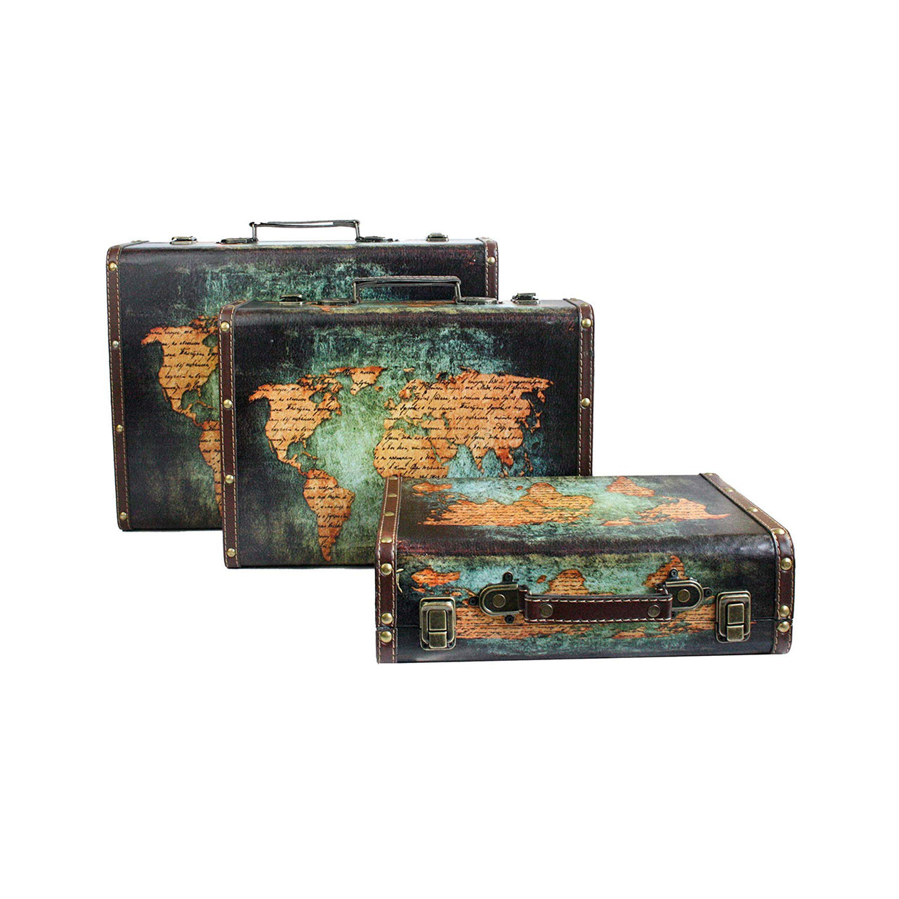 World Map Suitcase Box - Set of 3