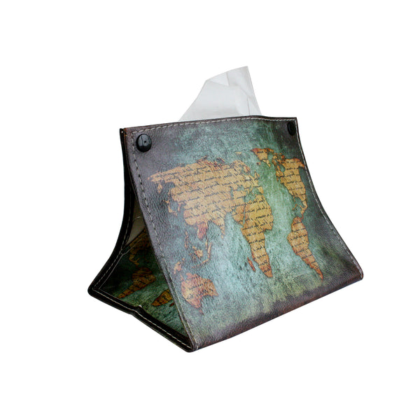 Folding Tissue Box - World Map
