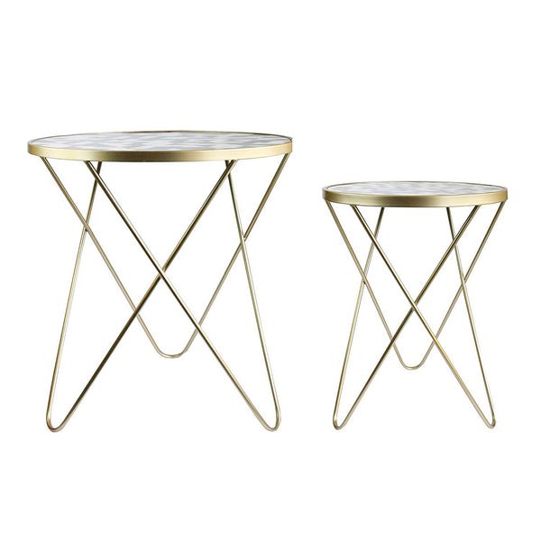 Geometric Pattern Coffee Table - Set of 2
