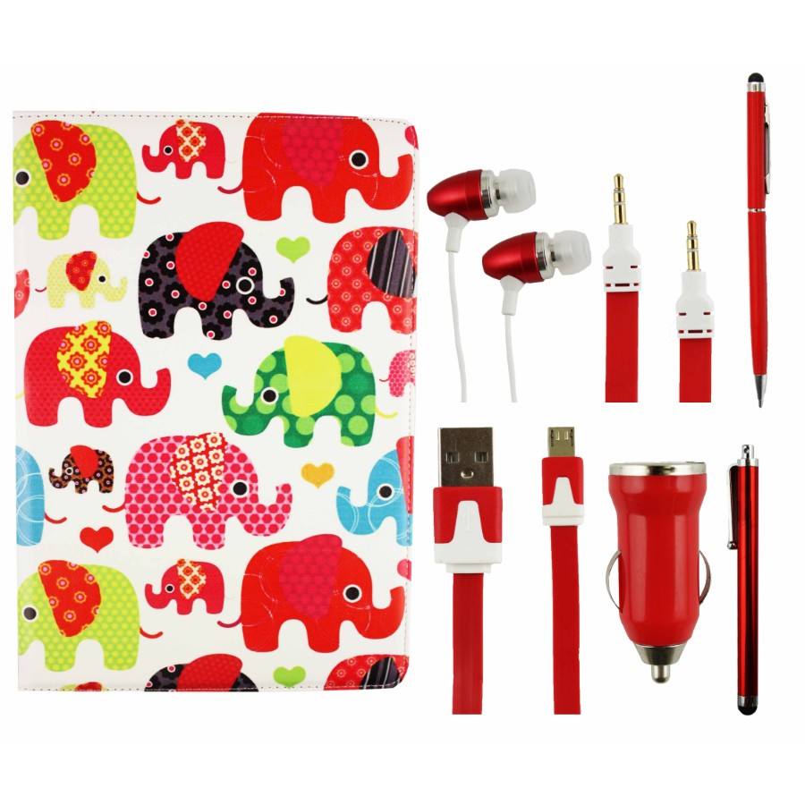 Tablet Accessory Bundle Pack - Elephants