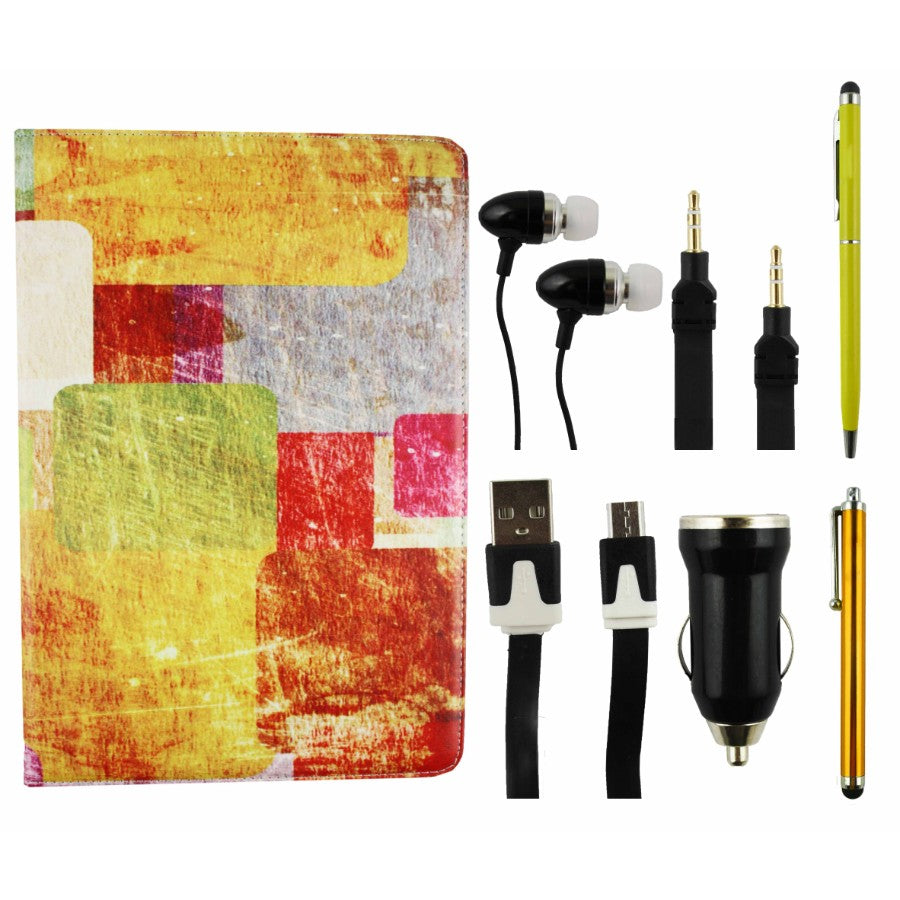 Tablet Accessory Bundle Pack - Colored Tiles