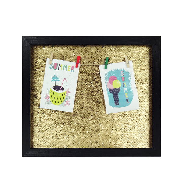 Big Sequin Photo Frame - Black/Gold