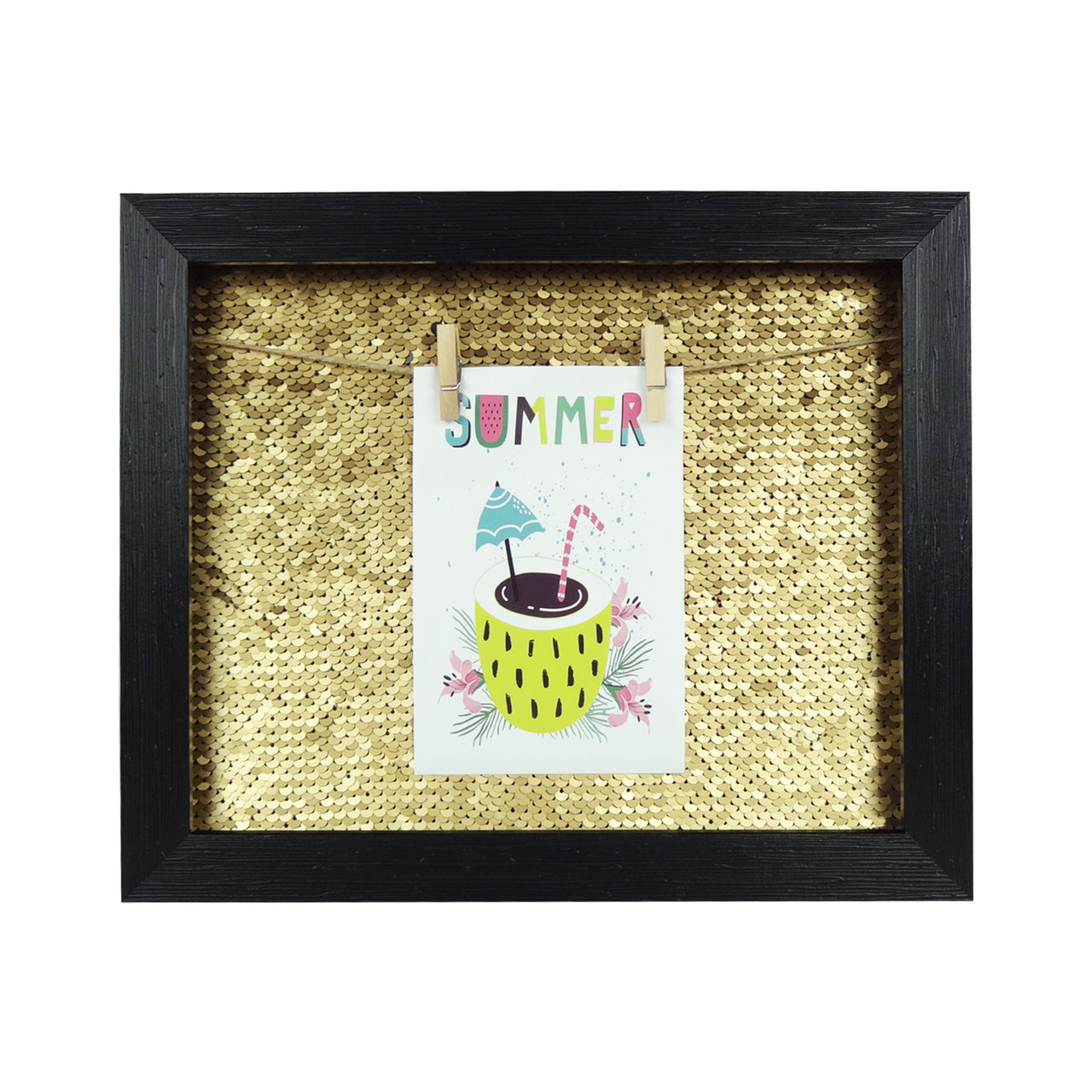 Small Sequin Photo Frame - Black/Gold