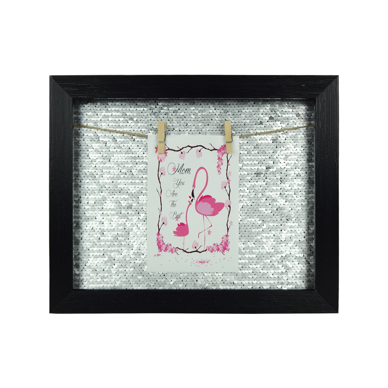 Small Sequin Photo Frame - Black/Silver