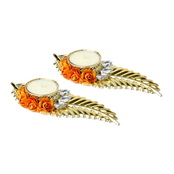 Leaf Tea Light Candle Holder - Orange Set of 2