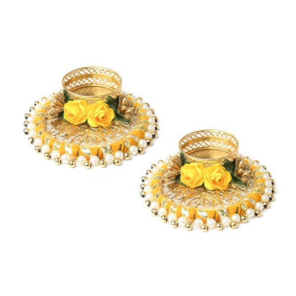 Round Tea Light Candle Holder - Yellow Set of 2