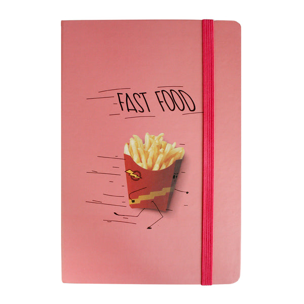 A5 Fast Food Notebook - Pink/Red