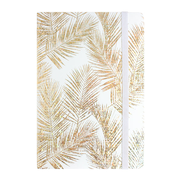 A5 Shiny Ferns Print Notebook - Gold - EMARTBUY