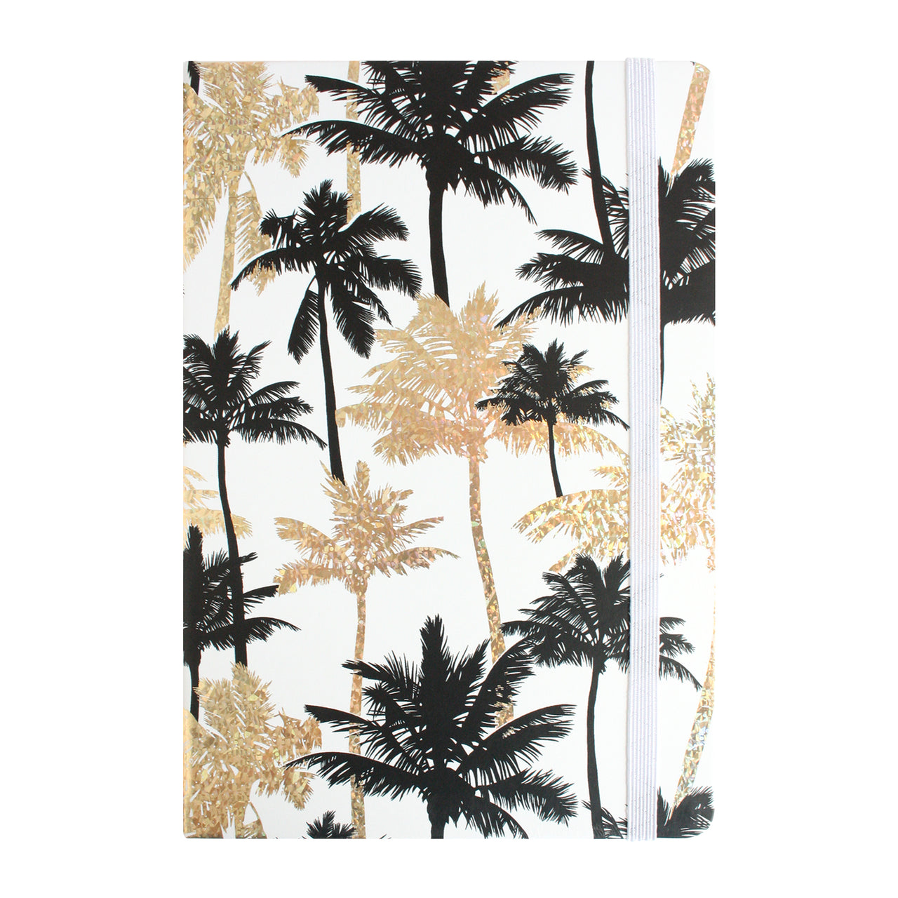 A5 Shiny Trees Print Notebook - Black/Gold - EMARTBUY