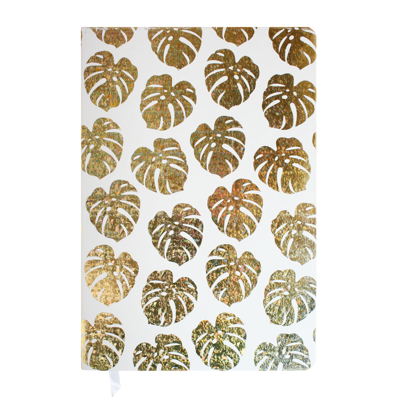 A5 Shiny Leaves Print Notebook - Gold - EMARTBUY