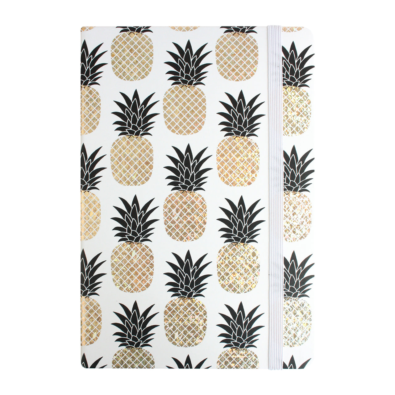 A5 Shiny Pineapple Print Notebook - Gold - EMARTBUY