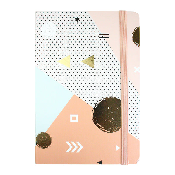 A5 Abstract Notebook - Rose Gold - EMARTBUY