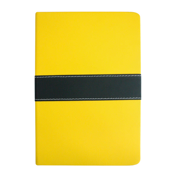 A5 PU Leather Hardbound Notebook - Yellow - EMARTBUY