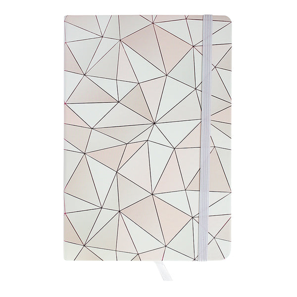 A5 Geometric Marble Notebook - Pink / White