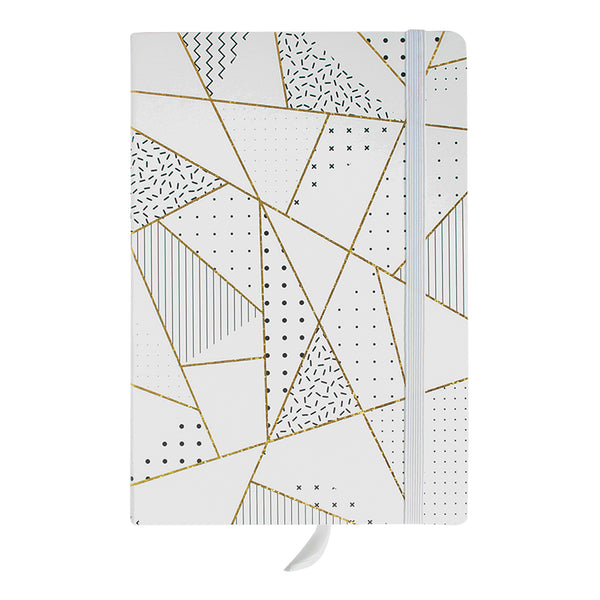 A5 Geometric Marble Notebook - White / Gold